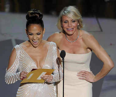 Oscar Winning Smile:  These two STUNNING ladies have smiles to match! American Idol Judge, singer, songwriter and actress Jennifer Lopez, with the always amazing and equally talented Cameron Diaz show off their pearly whites!