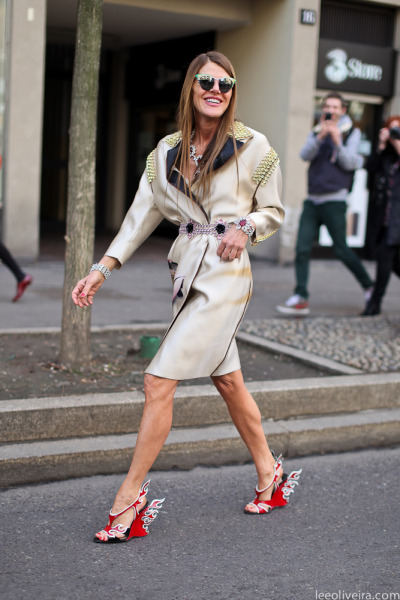 Absolutely love her style! Anna Della Russo wearing prada shoes, Spring 2012. via fashion-streetstyle  On the streets of Milan…Anna Dello Russo