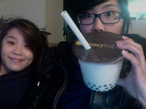 Almond milk tea w/ honey boba from Honey Boba last night (feat. my sister)