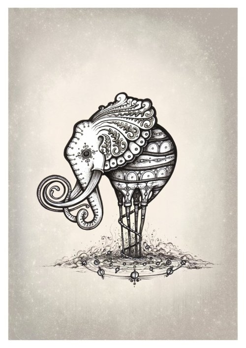 "fuckyeahpsychedelics:  ""The Elliphant"" by Simanion"