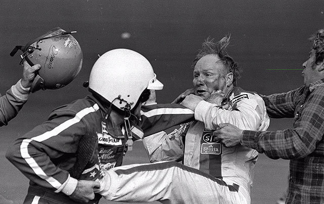 Bobby Allison (left, in helmet) fights with Cale Yarborough (right) as Allison's brother, Donnie, swings his helmet at Yarborough after the 1979 Daytona 500. Donnie Allison was leading the race on the final lap when Yarborough spun both of them into the infield. They started fighting shortly thereafter, prompting Bobby Allison to pull over and join. The incident drew great publicity for NASCAR, with many considering the 1979 500 the most important race in stock car history. (AP) GALLERY: Classic Photos of the Daytona 500MARTIN: Delay of Daytona 500 could pay off for NASCAR ANDERSON: My pick for Daytona 500, plus four to watch
