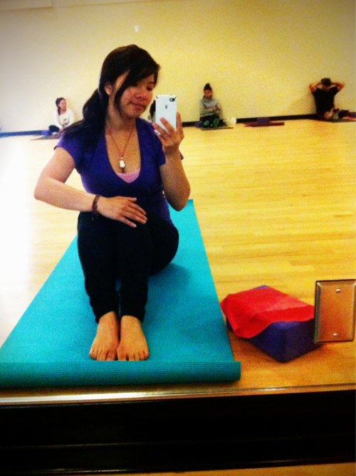 "Yoga class. Total beginners class, but still a good experience and basically free at a local community college. Downside is that students aren't focused an come into the class gossiping and talking really loud (okay there's 2 obnoxious ppl). Today we're working on plank, chaturanga, and side plank…exciting…but I just heard someone say, ""if I was by myself I wouldn't be motivated to do yoga. I would be like 'oh this is hard, I'll stop.' but if I'm in a class it's different."" yay!"