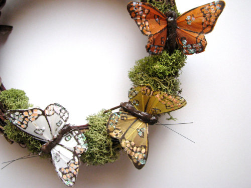 Woodland Butterfly Wreath with Moss, Price: $12.50, sold at BellaMiaDesign. http://www.etsy.com/shop/BellaMiaDesign