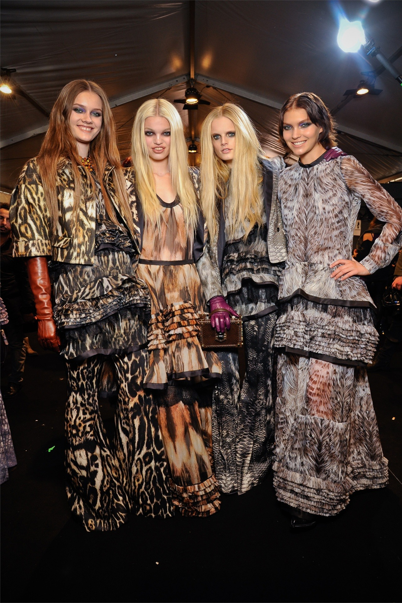 Jac, Daphne, Hanne and Arizona backstage at Roberto Cavalli fw12. beautiful girls.