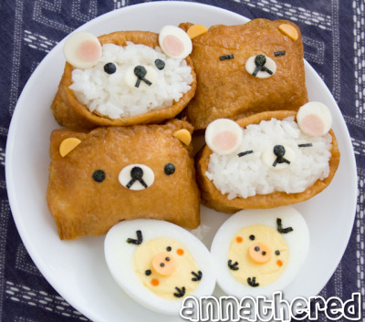 annathered:  How to make Rilakkuma Inari-zushi!  @taykash, This is what I'm planning for hanami.