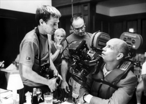 Spike Jonze with John Malkovich on the set of Being John Malkovich (1999).