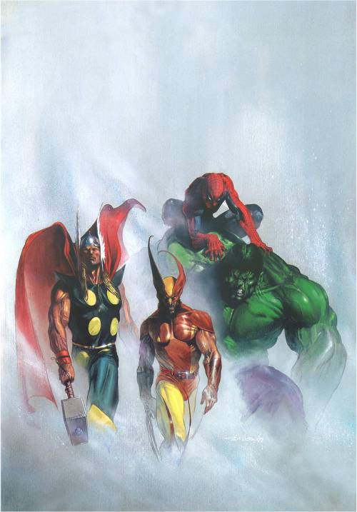 Marvel Heroes by Gabrielle Dell'Otto Check out the artist's site. It's pretty unique.