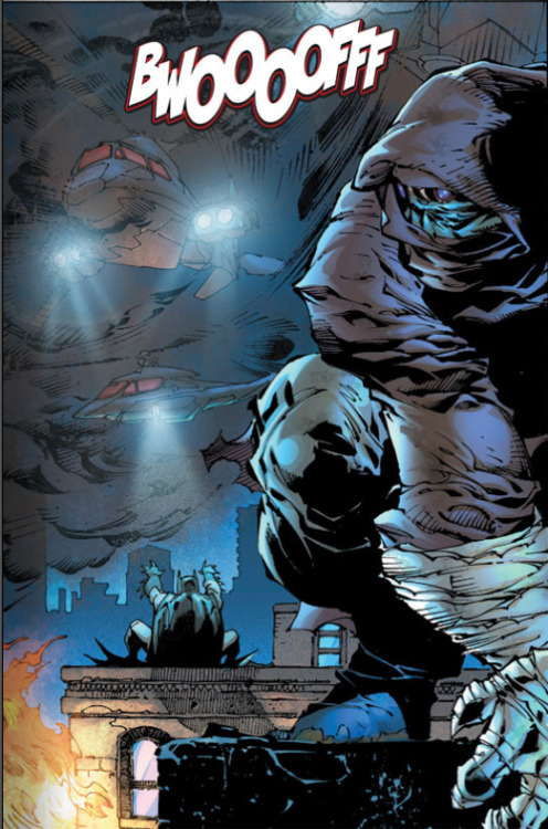 BWOOOOFFF Art by Jim Lee and Scott Williams, colouring by Alex Sinclair, lettering by Patrick Brosseau, Justice League #1. Cover date October 2011 Jim Lee draws smoke bombs exploding.  Well, I think that's what happens.  There's a sound effect, and in the previous panel Batman fired some things at the helicopters, and there's black smoke in the air around the helicopters, so we'll guess that Jim Lee has drawn a smoke bomb exploding.  Granted, it must be hard to draw a smoke bomb exploding.