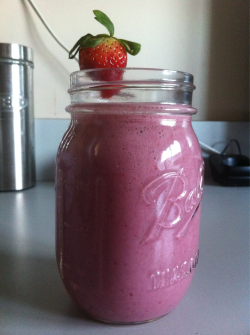 Made a Soy Strawberry Smoothie for lunch!