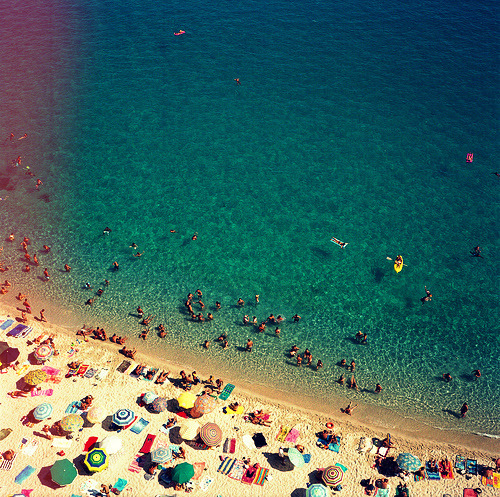 Aerial shot of people on the beach