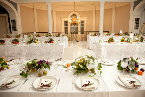 Wedding Dinner at The Museum of the City of New York in our Marble Court. Silkstone - Catering Emily Thompson - Flowers Richard Jopson - Photography Mr. Boddington Studio - Invites/Programs/Seating Cards