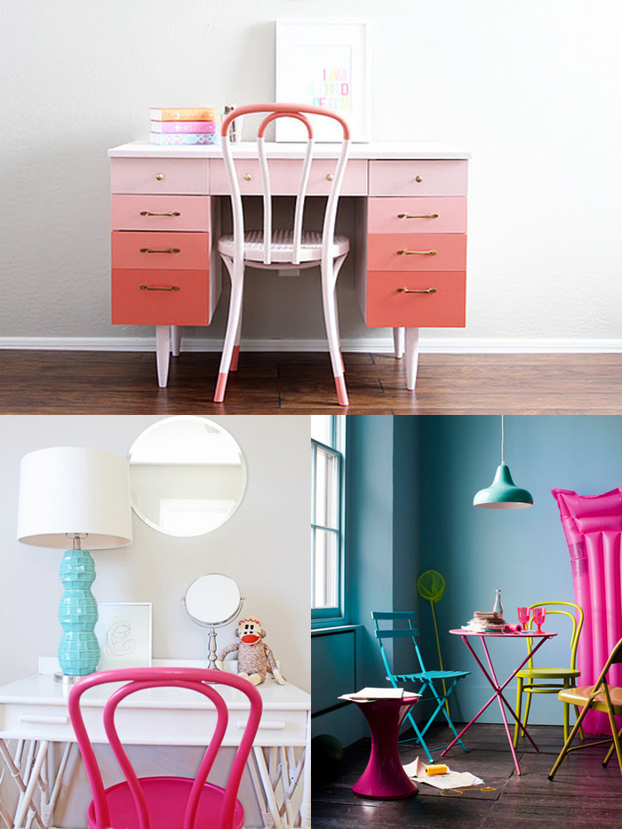 We Heart Colourful Bentwood Chairs! We're always huge fans of giving classic pieces a contemporary twist; whether it's with our food, clothing, music or even housewares! These bentwood chairs have become an iconic staple in most homes, so you can imagine our excitement when we stumbled upon them painted bright colours. Just looking at them in these spaces makes us eager for spring (as if we needed another excuse). For more salvaged furniture, check out our vintage furniture + curiosities blog: HOT HUNT! (Photos via: Apartment Therapy)