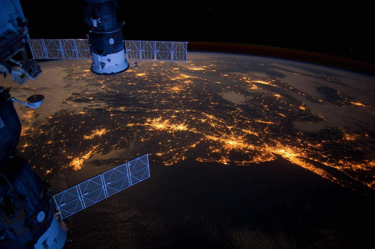 Washington, D.C. to NYC as seen from the International Space Station.  It's pretty amazing how how you can see the major metro areas at night. Here's a version with cities outlined.