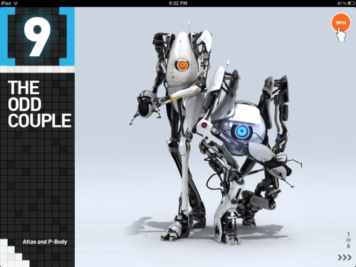 "handheldportaldevice:  Atlas and P-Body, from the ""Last Moments of Portal 2"" iPad app.  DO NOT LOOK AT THE OPERATIONAL END OF THE DEVICE!"