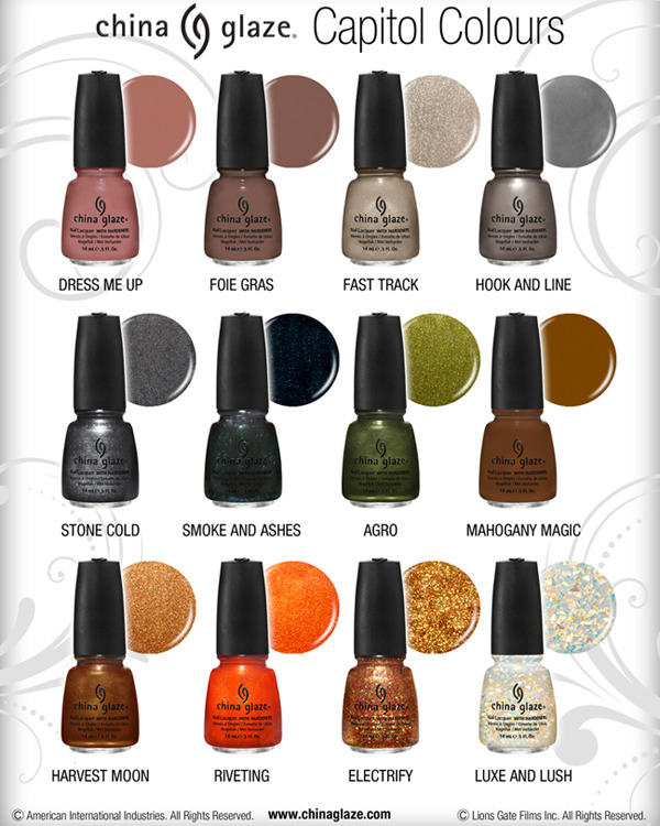 The new Hunger Games nail polishes. Apparently each colour stand for a district. Here they are: Dress Me Up: District 8, Textiles Fois Gras: District 10, Livestock Fast Track: District 6, Transportation Hook and Line: District 4, Fishing Stone Cold: District 2, Masonry Smoke and Ashes: District 12, Coal Mining Agro: District 11, Agriculture Mahogany Magic: District 7, Lumber Harvest Moon: District 9, Grain Riveting: District 3, Technology/Mechanics Electrify: District 5, Power Luxe and Lush: District 1/The Capitol, Luxury These are said to be available in March. http://www.hollywoodlife.com/2012/01/23/the-hunger-games-china-glaze-nail-polish-collection/