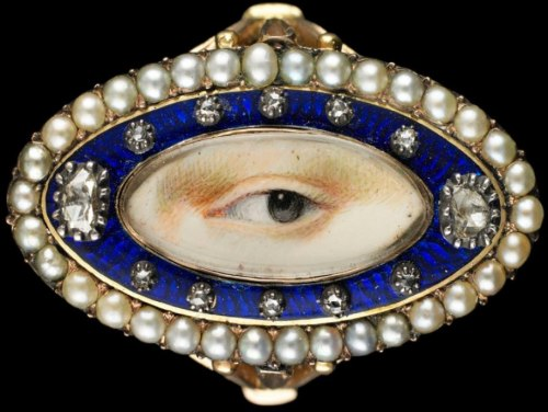 A Lover's Gaze  The eye miniature was a mysterious art form, popular for a brief moment in the late 1700s and early 1800s among well-to-do families.~ more info at Vanity Fair