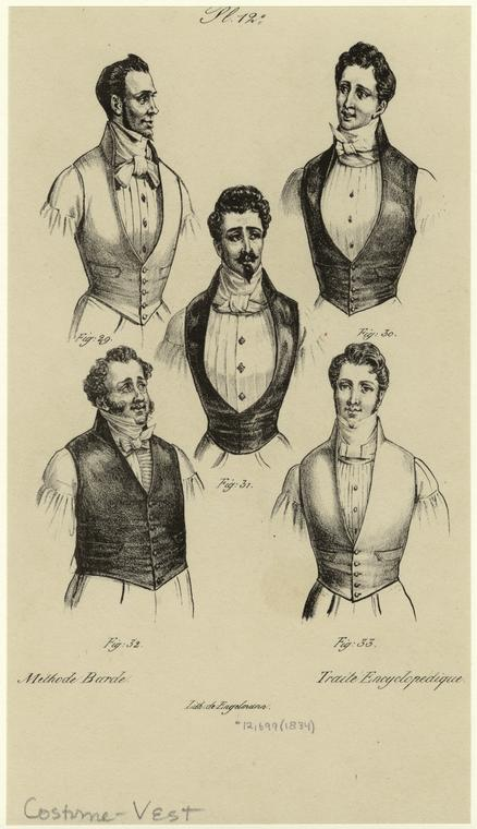 lostsplendor:  Men in Vests and Neckties, c. 1834 via NYPL