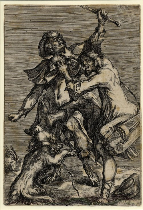 soircharmant:  Jacques Bellange : Hurdy-gurdy player attacking a pilgrim; the pilgrim, also attacked by a dog, is wearing the cockle-shell of St James / Un vielleux et un chien attaquant un pèlerin portant la coquille Saint-Jacques, 1612-1616, Etching with stipple British Museum