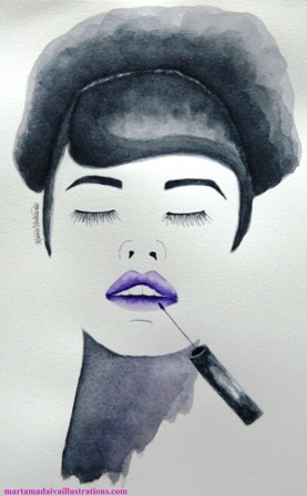 never without lipstick fashion illustration by Marta Madaiva