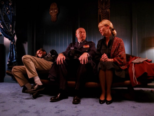 fashion-and-film:  Twin Peaks (1990)  I forgot about the therapy scenes in this show between Bobby and his parents.  They seemed to go about as well as the ones I had with my parents in high school.  Only, I wasn't on drugs or dealing them.  Also my dad couldn't go into the Black Lodge.  Nor was he in the military. At least to the best of my knowledge.
