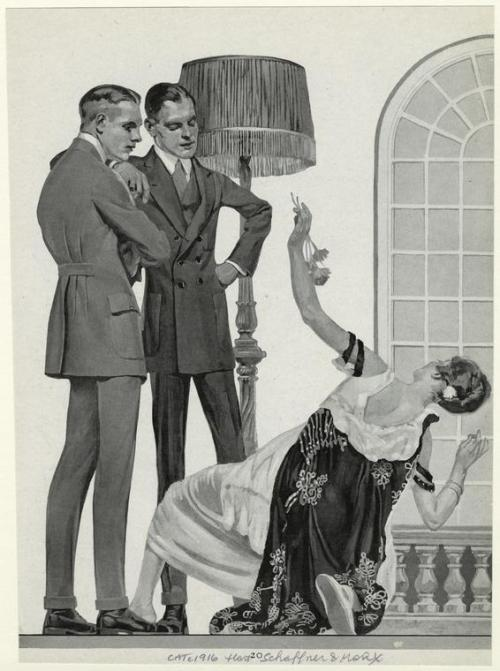 lostsplendor:  Observance, c. 1912. Textbook response to the smoldering gaze of two strapping young gents.
