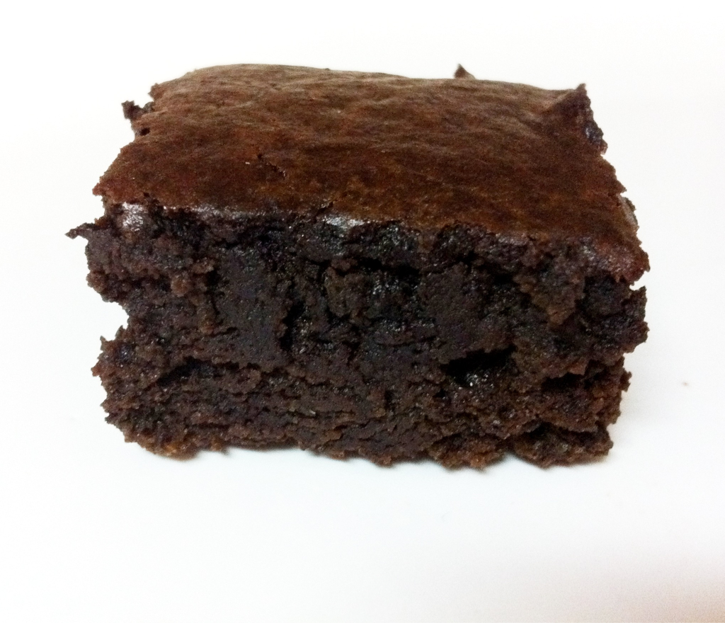 emergeabutterfly:  Photo a Day. Day 27: Something You Ate A Black Bean Brownie.  Yes.  A Brownie made with Black Beans. And?  It's Delicious. Chocolately Delicious. And Only 45 Calories a Serving. Black Bean Brownies 1 Can Black Beans, Rinsed & Drained 3 Eggs 3 TBSPs Vegetable Oil 1/4 Cup Cocoa 1 tsp. Baking Powder 1 Pinch Salt 1 tsp. Vanilla 3/4 Cup Sugar 1/2 Cup Dark Chocolate Chips Blend in blender, Scrape sides as needed. Pour in Lightly Greased 8x8 Pan. Bake at 350 for 25-30 Minutes.  PS Try Not to Eat the Whole Pan.  [You're Gonna Wanna]