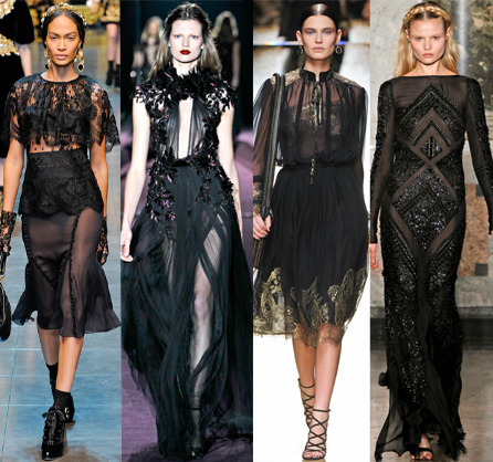 Sexy, sheer black dresses at Milan Fashion Week from Dolce & Gabbana, Gucci, Salvatore Ferragamo and Pucci. See how starlets rocked this look at the Oscars after parties, over on STF!