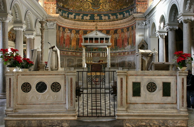 The Schola Cantorum in San Clemente, Rome. San Clemente was built in the 12th century, but its roots are reaching far back into history. It is the successor of a 4th century church which also wasn't the first building at this place.
