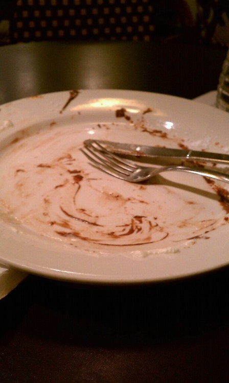 le 27 février - something I ate.  FEBPHOTOADAY  The practically-clean plate on which my nutella crêpe used to sit. Omnomnom.