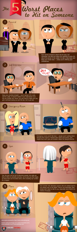 INFOGRAPHIC: Five Worst Places to Hit On Someone Click HERE to enlarge
