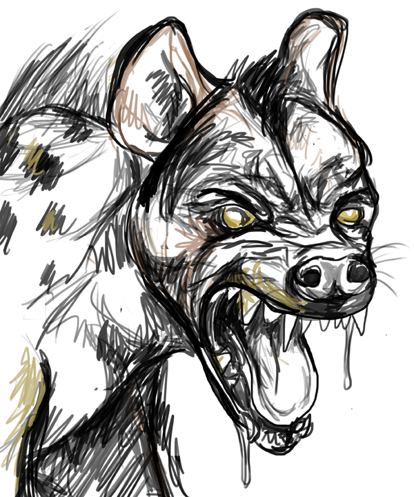 "sketch of Hyena Editor, who haunts my dreams. mythraidates: ""i fuss and pick like a hyena at a ravaged carcass"" catulla: ""agreed, I would say my writing process is a delicate mix of neuroses and hyena vomit"""