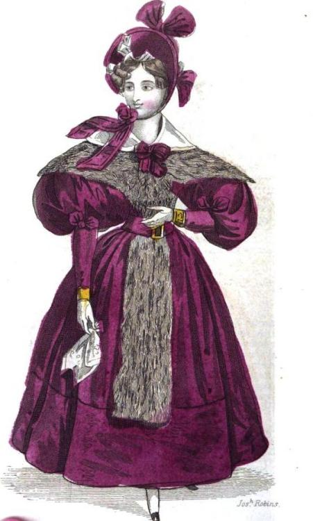 The Ladies Pocket Magazine, Walking Dress, January 1834. This color is just stunning, especially paired with the bright gold/yellow.