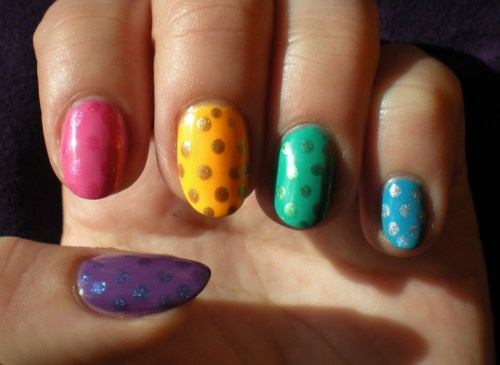 thenailadventure:  Spring Time Skittle Dots