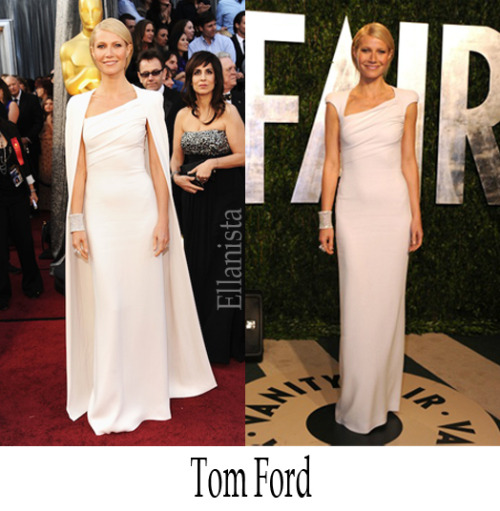 Red Carpet Fashion Gwyneth Paltrow was a vision in a Tom Ford white dress, Jimmy Choo 'Koko' sandals, and Anna Hu jewels to the 2012 Oscars at the Hollywood & Highland Center, in Hollywood. Gwyneth is wearing one of Tom Ford's Fall 2012 designs shown just less than a week ago to editors.