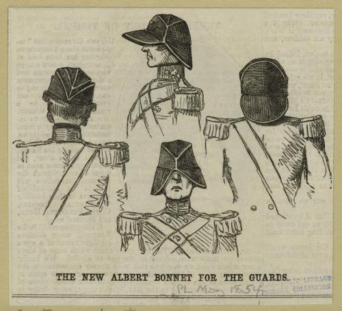 The New Albert Bonnet for the Guards, 1854. Well.  This just seems silly!