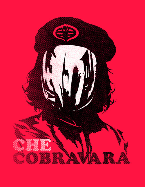 "Cobra Commander. herochan:  Che Cobravara  Created by Ninjaink Illustration by Timothy Lim Concept by Mark Pellegrini Artist note: Christopher ""CC"" Cobravara, commonly known as CC, was a Cobra La revolutionary, used-care salesman, author, once a man, guerrilla leader, diplomat, and military terrorist. A major figure of the Cobra Revolution, his stylized visage has become a ubiquitous countercultural symbol of rebellion and global insignia within 80's popular culture."