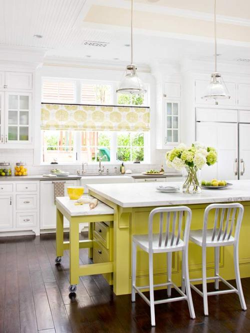 Bright kitchen with a pop of color. From BHG