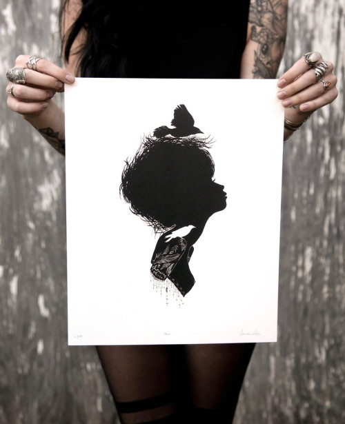 "New limited edition silhouette print just dropped! ""Neva"", my little bird nest girl. Edition of 100. Signed, numbered and titled. Get em in my shop!"