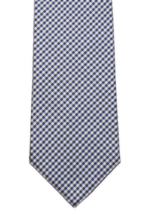 Navy shepherd's check six-fold tie $85