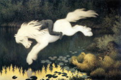 timelessart:  Gutt på hvit hest (Boy on White Horse) by Theodor Kittelsen Norway, 1857-1914 Painting, Oil on canvas (via cavetocanvas)
