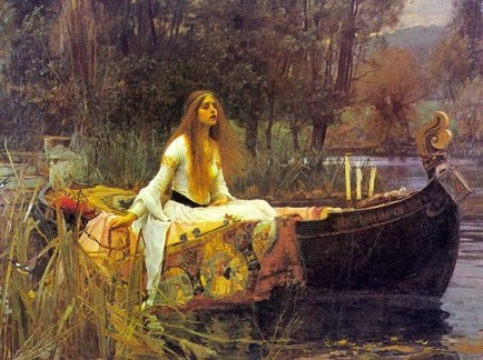 Painting by John William Waterhouse, The Lady of Shallott (on boat) 1888