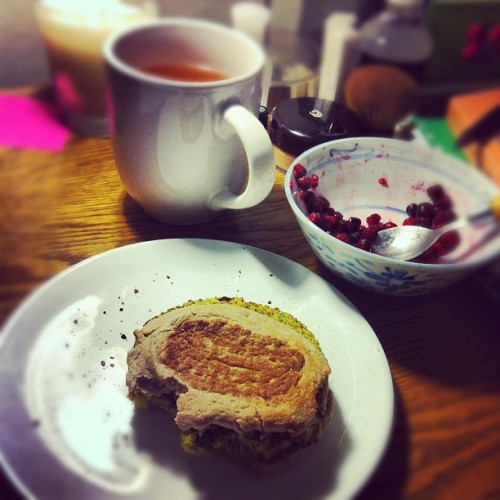 Meatless Monday with berries, green tea, and a veggie burger. #somethingiate #febphotoaday  (Taken with instagram)