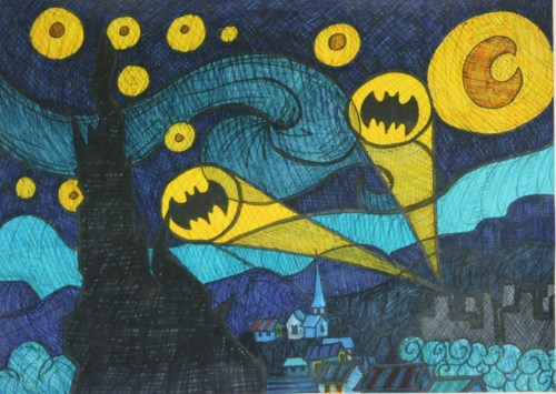 """Starry Dark Knight"" sooo clever. based on Van Gogh's Starry Night"