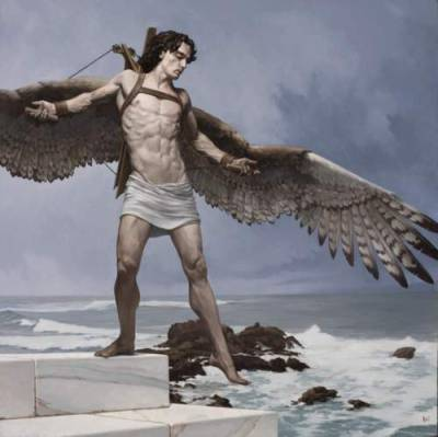 Icarus by Bryan Larsen Son of Daedalus who dared to fly too near the sun on wings of feathers and wax. Daedalus had been imprisoned by King Minos of Crete within the walls of his own invention, the Labyrinth. But the great craftsman's genius would not suffer captivity. He made two pairs of wings by adhering feathers to a wooden frame with wax. Giving one pair to his son, he cautioned him that flying too near the sun would cause the wax to melt. But Icarus became ecstatic with the ability to fly and forgot his father's warning. The feathers came loose and Icarus plunged to his death in the sea.