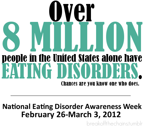 Be aware. http://www.nationaleatingdisorders.org/index.php