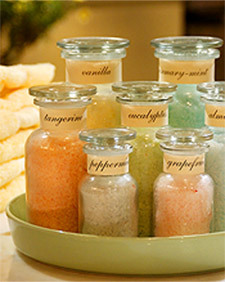"inessencedayspa:  DIY Bath Salts from Martha Stewart A very easy recipe, found on MarthaStewart.com - it's so simple and fragrant. Here's an excerpt from her website:  ""In a large bowl, mix to combine: 6 parts coarse sea salt; 3 parts  epsom salts, to soothe tired muscles and reduce inflammation; and 1 part  baking soda, to soften waters and alleviate skin irritation. Add a few  drops of essential oils, and combine. Add a few drops of food coloring,  until you achieve the desired shade. If you intend to present the bath  salts as gifts, be sure to store them in a stoppered and labeled  container to keep out moisture."""
