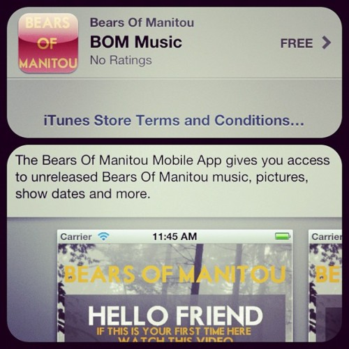 "mariatresa:  @bearsofmanitou iPhone app just approved! Go download it NOW! 😄 Just search ""Bears of Manitou""  (Taken with instagram)"