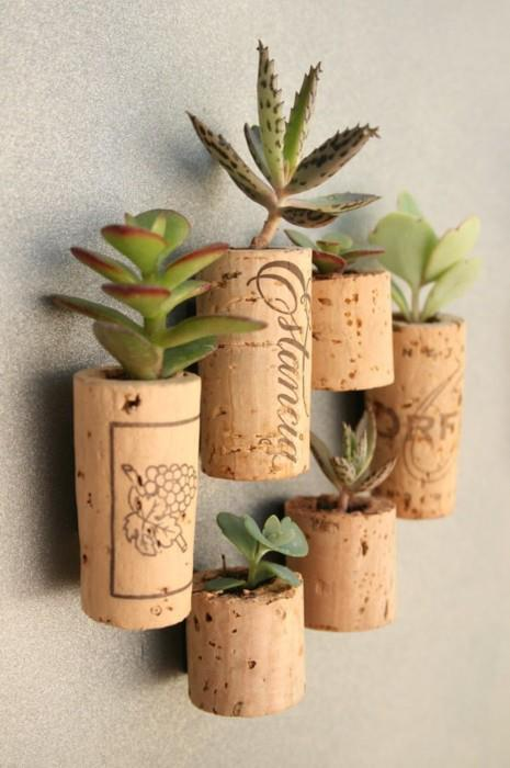 craftfulthinking:  Mini cork planters for cacti and succulents. (add a magnet and liven up your fridge) <3