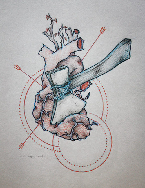 """you left quite a mark, on this old wooden heart"" (sketch)"