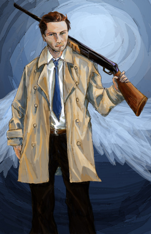 angel with a shotgun | Castiel | Supernatural | full view  I'm experimenting with digital painting now that I've located my Wacom tablet. Ah well.  For all my attempts, I still love linework. :/ Will keep improving.